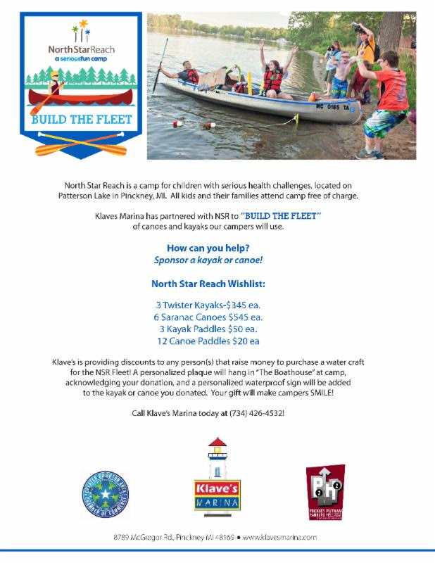 North Star Reach Pinckney MI and Klave's Marina are working together to help raise funds for Kayaks