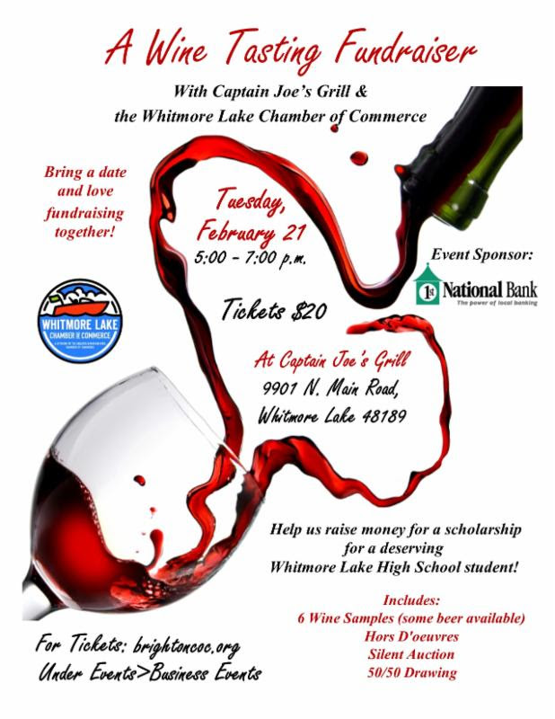 WHITMORE LAKE CHAMBER EVENT SET FOR FEBRUARY 21 A WINE TASTING FUNDRAISER
