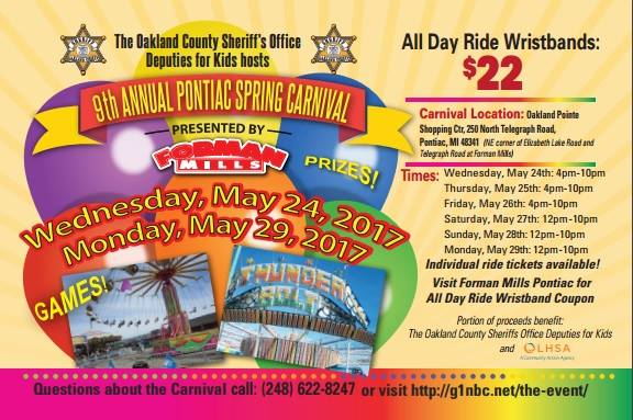 THE OAKLAND COUNTY SHERIFF OFFICE DEPUTIES FOR KIDS PONTIAC SPRING CARNIVAL